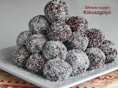 Kókuszgolyó | Bibimoni Receptjei Vaj, Cereal, Raspberry, Fruit, Breakfast, Food, Candy, Morning Coffee, Essen