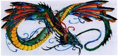 """Infinity Dragon"" Cross Stitch Pattern - Vibrant colors and beautiful details make this pattern a ""must have"" for any dragon lover. Based on artwork by Leah Jakusovsky. Design measures 433 stitches wide by 215 stitches high. This is a comb-bound, multi-page pattern."