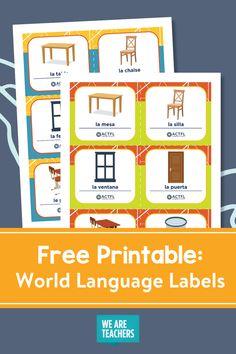 There are three languages available: Spanish, French, and German. Plus there is a fill-in-your-own set of world language labels. Fun Learning, Learning Activities, Teaching Resources, Printable Labels, Free Printables, Teacher Freebies, World Languages, Foreign Language, Teaching Spanish
