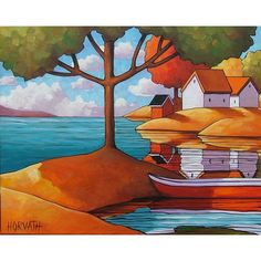 """Fine Art Print by Horvath 8.5""""x11"""" Modern Folk Red Canoe Summer Vacation Cottages, Trees River Lake Landscape, Giclee Reproduction Artwork"""
