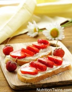 Strawberry-Ricotta Bruschetta | Unique twist to bust out of boring routine | Satisfying carbs AND protein for just 108 calories! | NutritionTwins.com