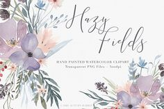 Watercolor Floral Clipart - Hazy Fields - Free Design of The Week from DesignBundles.net