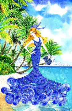 California Summer, inspired by Elie Saab Spring 2013 RTW and Balmain clutch, Illustration by Sunny Gu. Sketches, Girly Art, Illustration, Creative Colour, Drawings, Fashion Illustration, Painting, Art