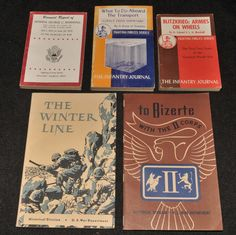 5 Original World War II Books - Winter Line, Infantry Journal Blitzkrieg Bizerte All 5 books are original printed in the 1940's. To Bizerte - With the II Corps. The Infantry Journal - Blitzkrieg: Armies on Wheels by: LT Colonel S.L.A.