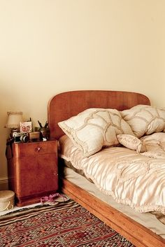 dreamy bed frame and linens.