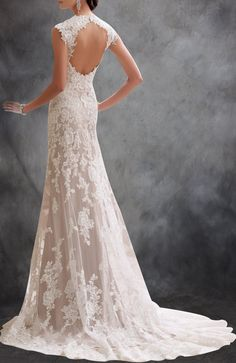 Capped Sleeves Open Back Lace Wedding Dress With Beading Detail - Wedding Gowns - OuterInner.com