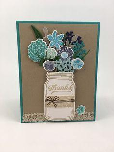 Stampin Up, Stamp Set Jar of Love, Beautiful bouquet Paper Flowers Diy, Flower Cards, Diy Paper, Mason Jar Cards, Pot Mason, Birthday Bouquet, Wedding Bouquet, Scrapbooking, Scrapbook Albums