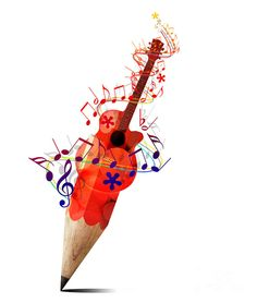 TMSGuitar2A - inspiration-pencil-with-red-acoustic-guitar-and-music-notes-image-suwit-ritjaroon.jpg - Detail