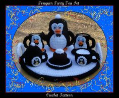Penguin Party Tea Set Crochet Pattern by craftsforangels on Etsy