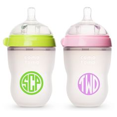Two Personalized Monogram Decal Stickers for Bottles or Sippy Cups