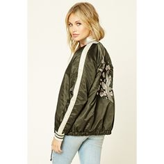 Forever 21 Women's  Drawstring Souvenir Jacket ($40) ❤ liked on Polyvore featuring outerwear, jackets, forever 21 jackets, drawstring jacket, brown jacket and forever 21