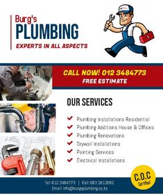 Service: Plumbing Drywall Instalations Painting Services Electrical Services Call 0123484773 Email: info@burgsplumbing.co.za Residential Plumbing, Electrical Installation, Painting Services, Business, Electrical Wiring, Store, Business Illustration