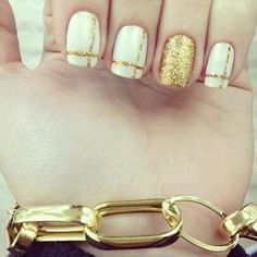 nail and gold #gold #white #nails #Nailart #nailpolish #polishaddict - bellashoot.com #holidaynails #partynails #glitter
