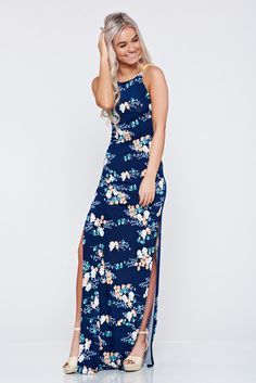 StarShinerS darkblue daily long dress with straps, soft fabric, floral prints, cut out material, with straps, slightly elastic fabric