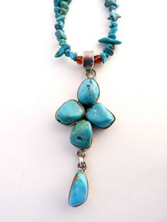 Turquoise Necklace  Turquoise Pendant Blue by susansbeadhappy, $50.00