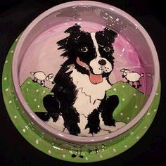 Border Collie Hand-Painted Dog Bowl