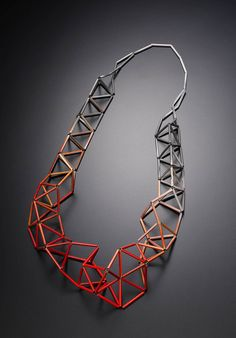 Geometric Jewellery - necklace with 3D geometric structure colour gradient detail; contemporary jewelry design // Meghann Jones