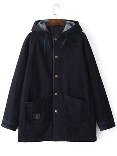 Black Hooded Pockets Loose Denim Coat -SheIn(abaday)