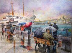 Raif Gökkuş - Suluboya Landscape Paintings, Watercolor Paintings, Original Paintings, Oil Paintings, Color Poem, River Painting, Decoupage, Cool Art, Illustration