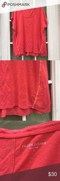 Eileen Fisher coral organic linen slouchy top Longer length. Size small. EUC Eileen Fisher Tops Tunics