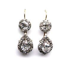 - Pair of 18th century diamond drop earrings, c.1780