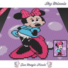 Shy Minnie inspired crochet blanket pattern; knitting, cross stitch graph; pdf download; Minny Mouse; no written counts or row instructions by TwoMagicPixels on Etsy https://www.etsy.com/uk/listing/462139771/shy-minnie-inspired-crochet-blanket