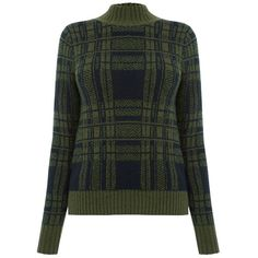 Oasis Military Check Jumper, Khaki ($46) ❤ liked on Polyvore featuring tops, sweaters, funnel neck sweater, checkered sweater, high neck sweater, funnel sweater and military green sweater