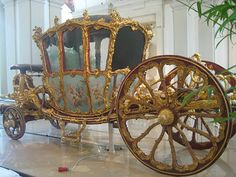 This golden coach, designed by the architect Nicolas Pineau (1684-1754), was made in Paris in 1738 on the orders of Prince Joseph Wenzel of Liechtenstein, who had been appointed the Holy Roman Empire's ambassador to the court of Louis XV by Emperor Karl VI.