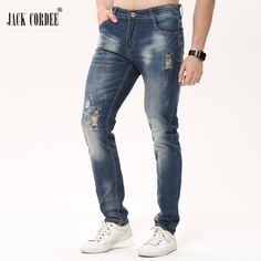 Check current price JACK CORDEE Mens Fashion Hole Straight Jeans Men Slim Ripped Jeans For Men Stretch Denim Jeans Homme Pants Casual Jean Trousers just only $26.89 with free shipping worldwide  #jeansformen Plese click on picture to see our special price for you