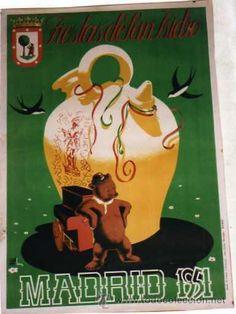 Cartel Fiestas de San Isidro. Madrid 1951. 100 x 70 cm . Ilustrador Echanove Cima. (Papel - Carteles Gran Formato - Carteles Ferias, Fiestas...