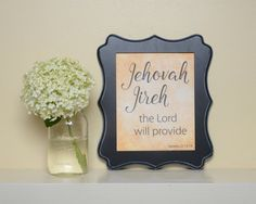 Printable Jehovah Jireh, Names of God, Bible verse art, Bible verse printable