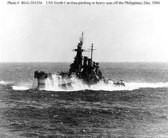 USS North Carolina underway in heavy seas