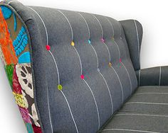 Colorful patchwork designers guild fabric Parker knoll winged back sofa - love the coloured buttons Upholstered Sofa, Chair Upholstery, Sofa Chair, Designers Guild, Black Dining Room Chairs, Chair And A Half, Cool Chairs, Handmade Furniture, Soft Furnishings