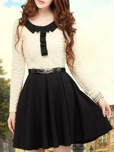 Long Sleeve Beige Dress with Contrast Black Pleated Skirt - Fashion Clothing, Latest Street Fashion At Abaday.com