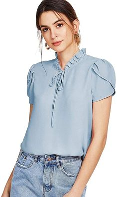 To find out about the Frill Trim Tie Neck Petal Sleeve Top at SHEIN, part of our latest Blouses ready to shop online today! Bow Tie Blouse, Petal Sleeve, Pastel Fashion, Pants For Women, Clothes For Women, Mode Hijab, Pulls, Types Of Sleeves, No Frills