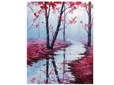 PINK TREES PAINTING large commissioned river by GerckenGallery, $279.00