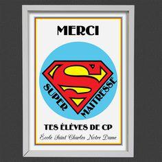 """Cadre Personnalisé """"Merci Super MAITRESSE"""" : Décorations murales par creerpourvous Saint Charles, Decoration, Notre Dame, Calm, Artwork, Etsy, Mardi Gras, Handmade Gifts, Wall Decorations"""