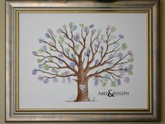 DIY Thumbprint Guest Book Tree--for a wedding! So easy and a beautiful memento to hang in your home!