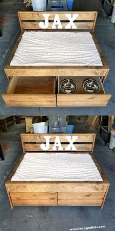DIY Dog Beds With Shipping Pallet Wood - Fancy Pallets Finding a stylish canine mattress is no easy Task HGTV has rounded up 15 of our fave, chic canine beds that you won't be embarrassed to keep out at your House Dog Bed Frame, Wood Dog Bed, Diy Dog Bed, Bed Frames, Pallet Dog House, Pallet Dog Beds, Wooden Pallet Projects, Wooden Pallets, Pallet Wood