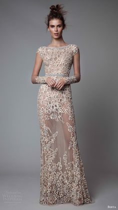 berta rtw fall 2017 (17 06) illusion long sleeves boat neck trumpet evening dress mv embellished sheer skirt mv