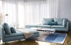 Nice colour but the design doesn't fit into our cavehouse. SÖDERHAMN sofa combination and chaise longue with Isefall light turquoise cover and MALIN FIGUR turquoise rug Söderhamn Sofa, Ikea Couch, Ikea Rug, Ikea Living Room, Living Room Furniture, Living Spaces, Media Furniture, Sofa Convertible, Ikea Soderhamn