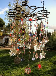 Boho Style ~ Lots of sparkly stuff hanging from old iron piece ~ pic only