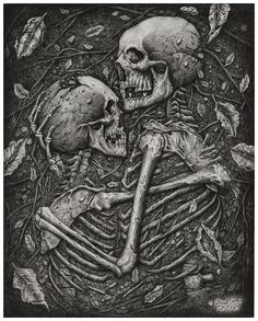 'Amor Aeternus' by Derek Castro ( Cow Skeleton, Skeleton Drawings, Dark Gothic, Dark Artwork, Macabre Art, Wow Art, Creepy Art, Skull And Bones, Deviantart