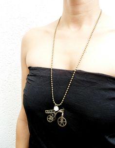 Lange ketting - bronze neckless with trycicle (S-498a) - Een uniek product van DomesDesign op DaWanda