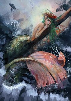 Mermaid rests on ship's plank: Siren Mermaid, Mermaid Kisses, Mermaid Fairy, Mermaid Tale, Fantasy Mermaids, Real Mermaids, Mermaids And Mermen, Magical Creatures, Fantasy Creatures