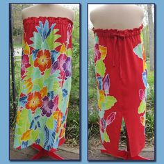 How comfy this looks. Tropical Sarong Strapless Maxi Dress with Red Background