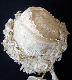 Maria Niforos - Fine Antique Lace, Linens & Textiles : Antique Christening Gowns & Children's Items # CI-122 Superb 19th C. Christening Bonnet w/ Ribbons