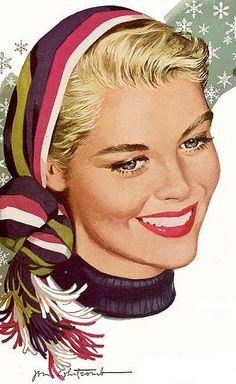 Jon Whitcomb illustration, beautiful young blonde woman
