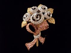 Signed Swan Swarovski Floral Bouquet Brooch Pin