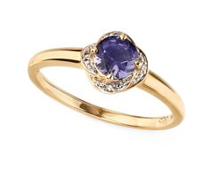 9ct Yellow Elements Gold Iolite Flower Ring